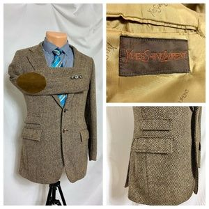 Vtg Yves Saint Laurent Herringbone Tweed Blazer 34
